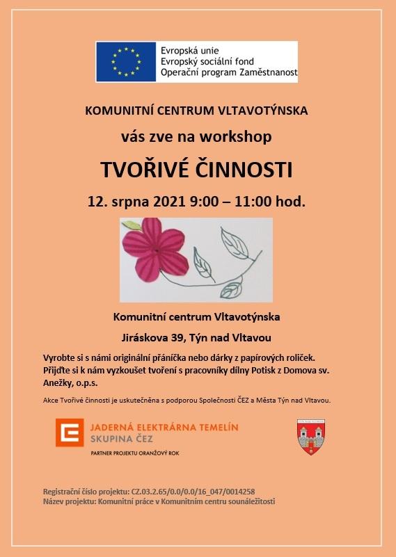 Tvořivé činnosti v Komunitním centru - 12.8. 9:00
