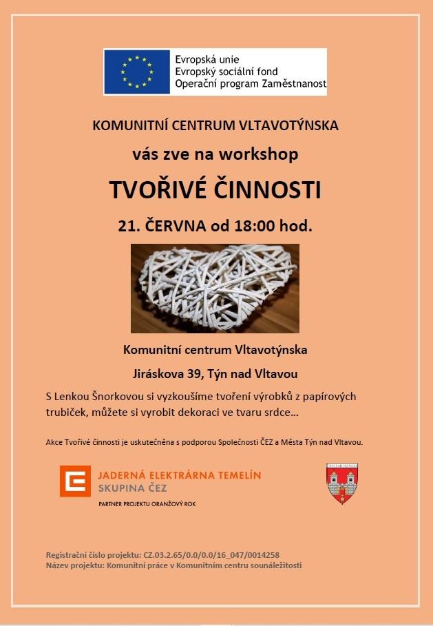 Tvořivé činnosti v Komunitním centru Vltavotýnska